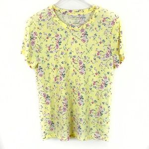 Lucky Brand Yellow Floral Short Sleeve Tee – Soft!